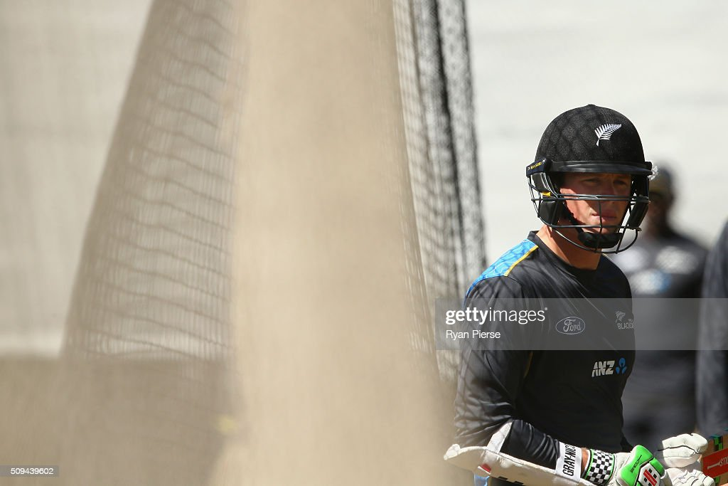 Henry Nicholls of New Zealand bats in the nets during a New Zealand nets session at Basin Reserve on February 11, 2016 in Wellington, New Zealand.