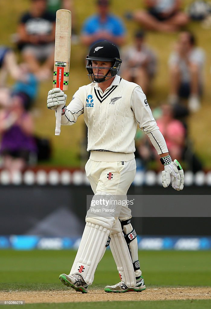 Henry Nicholls of New Zealand celebrates after reaching his half century on debut during day four of the Test match between New Zealand and Australia at Basin Reserve on February 15, 2016 in Wellington, New Zealand.
