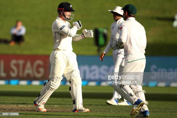 Henry Nicholls of New Zealand is dismissed without scoring during day three of the third Test cricket match between New Zealand and South Africa at...