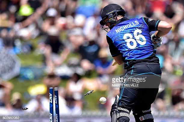 TOPSHOT Henry Nichols of New Zealand is bowled by Chamara Kapugedera of Sri Lanka during the 3rd One Day International cricket match between New...