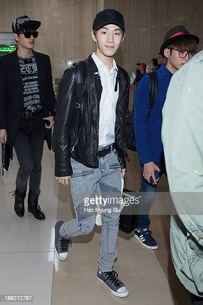 Henry of boy band Super Junior M is seen upon arrival at the Gimpo Airport on October 28 2013 in Seoul South Korea