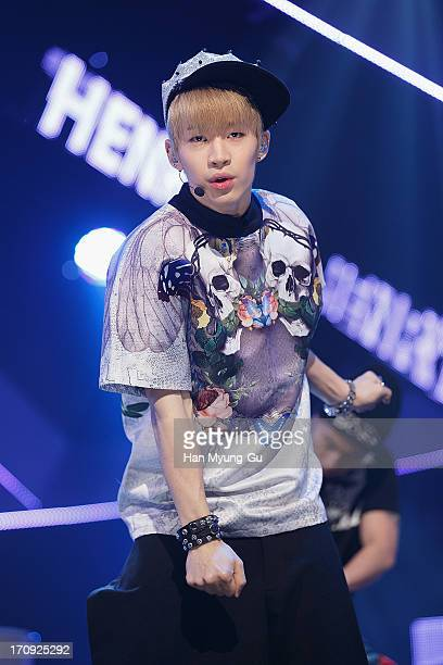 Henry of boy band Super Junior M performs onstage during the Mnet 'M CountDown' at CJ EM Center on June 20 2013 in Seoul South Korea