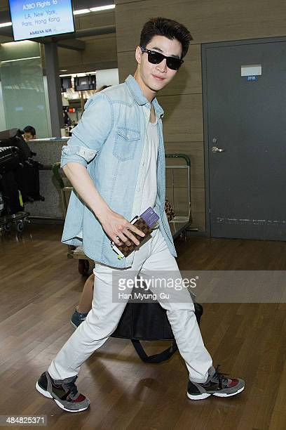 Henry of South Korean boy band Super Junior M is seen on departure at Incheon International Airport on April 14 2014 in Incheon South Korea