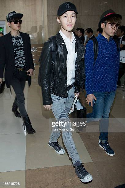 Henry of South Korean boy band Super Junior M is seen upon arrival at the Gimpo Airport on October 28 2013 in Seoul South Korea