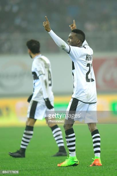 Henry Onyekuru Chukwuemeka forward of Eupen celebrates scoring the only goal during the Jupiler Pro League match between KAA Gent and KAS Eupen in...