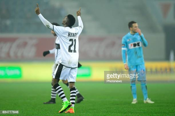 Henry Onyekuru Chukwuemeka forward of Eupen celebrates scoring the only goal Danijel Milicevic midfielder of KAA Gent looks dejected during the...