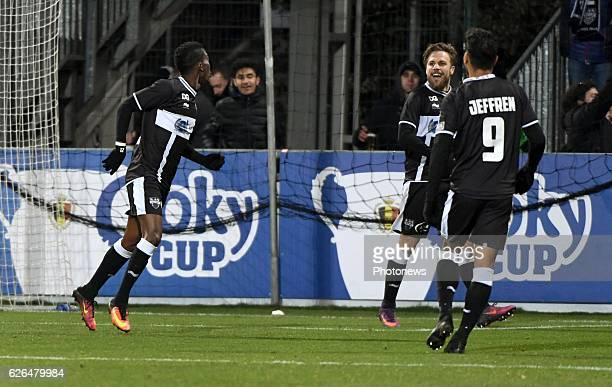 Henry Onyekuru forward of Eupen celebrates scoring a goal pictured during Croky cup 1/8 F match between KASEupen and Club Brugge KV on November 29...