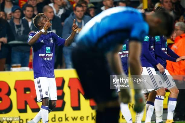 Henry Onyekuru forward of RSC Anderlecht celebrates pictured during the Jupiler Pro League match between Kv Mechelen and Rsc Anderlecht in Mechelen