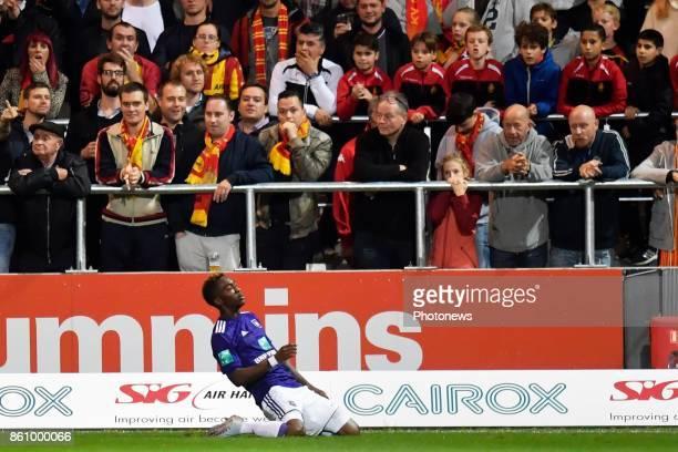 Henry Onyekuru forward of RSC Anderlecht celebrates scoring a goal during the Jupiler Pro League match between KV Mechelen and RSC Anderlecht on...