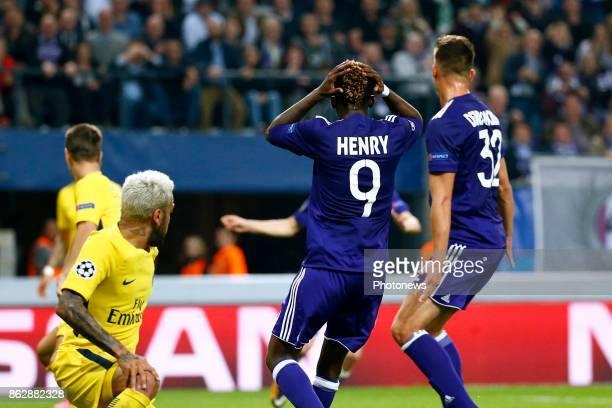 Henry Onyekuru forward of RSC Anderlecht during the Champions League Group B match between RSC Anderlecht and Paris SaintGermain on October 18 2017...