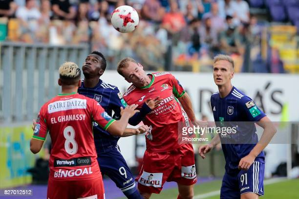 Henry Onyekuru forward of RSC Anderlecht in an airduel with Brecht Capon defender of KV Oostende during the Jupiler Pro League match between RSC...