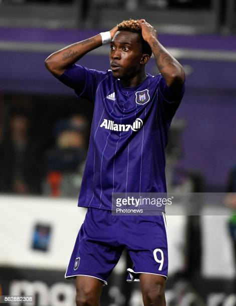 Henry Onyekuru forward of RSC Anderlecht looks dejected during the Champions League Group B match between RSC Anderlecht and Paris SaintGermain on...