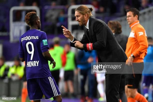 Henry Onyekuru forward of RSC Anderlecht Nicolas Frutos head coach of RSC Anderlecht during the Jupiler Pro League match between RSC Anderlecht and...