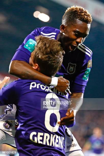 Henry Onyekuru forward of RSC Anderlecht Pieter Gerkens midfielder of RSC Anderlecht scores and celebrates pictured during the Jupiler Pro League...