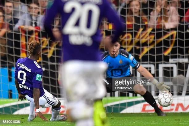 Henry Onyekuru forward of RSC Anderlecht scores 02 during the Jupiler Pro League match between KV Mechelen and RSC Anderlecht on October 13 2017 in...
