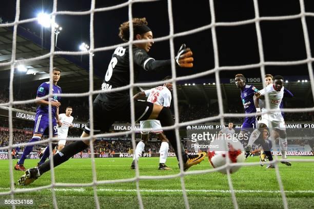 Henry Onyekuru forward of RSC Anderlecht scores a goal against Guillermo Ochoa goalkeeper of Standard Liege during the Jupiler Pro League match...
