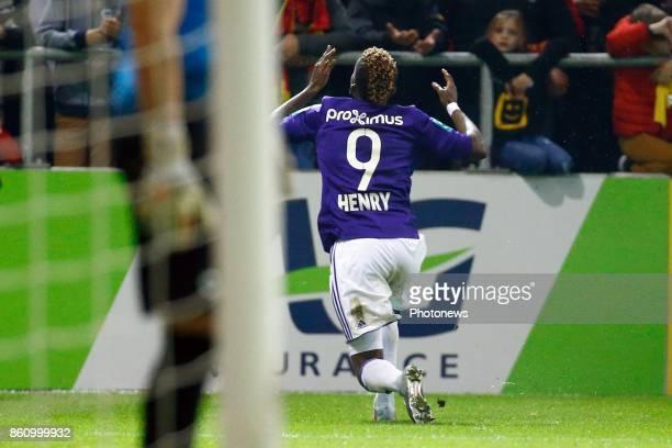Henry Onyekuru forward of RSC Anderlecht scores and celebrates pictured during the Jupiler Pro League match between Kv Mechelen and Rsc Anderlecht in...