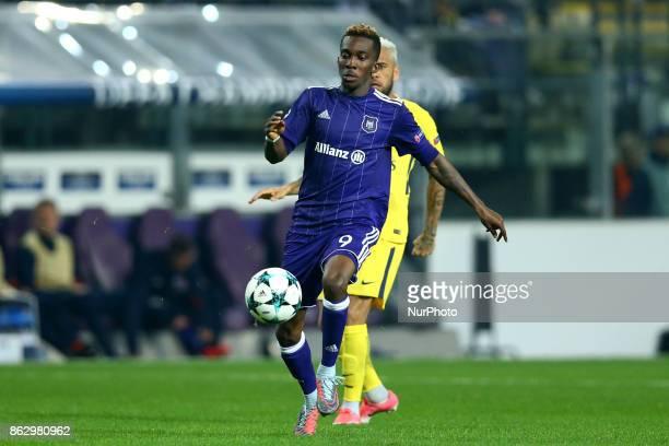 Henry Onyekuru of Anderlecht during the UEFA Champions League Group B football match between RSC Anderlecht and Paris SaintGermain at the Constant...