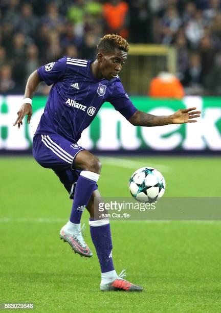 Henry Onyekuru of Anderlecht during the UEFA Champions League match between RSC Anderlecht and Paris Saint Germain at Constant Vanden Stock Stadium...