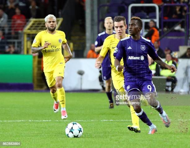 Henry Onyekuru of Anderlecht in action during the UEFA Champions League Group B soccer match between Anderlecht and Paris SaintGermain at Constant...