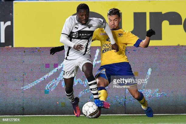 Henry Onyekuru of KAS Eupen and Damien Dussault of STVV during the Jupiler Pro League match between STVV and KAS Eupen at the Stayen on march 04 2017...