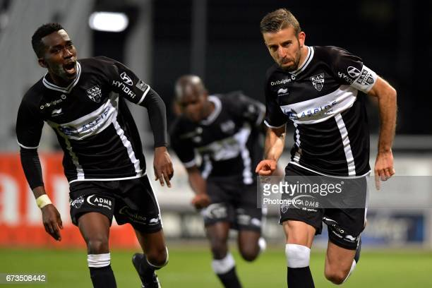 Henry Onyekuru of KAS Eupen and Luis Garcia of KAS Eupen celebrates the gaol during the Jupiler Pro League play off 2 match between KAS Eupen and KRC...