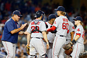 Henry Owens of the Boston Red Sox is taken out of his major league debut during the sixth inning against the New York Yankees by manager John Farrell...