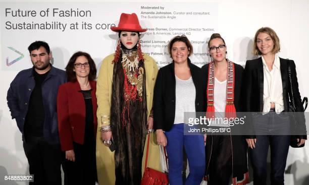 Henry PalmerHelen Sahi Daniel LismoreOya Barlas BingulAmanda Johnston and Arizona Muse attend Sustainable Angle during London Fashion Week September...