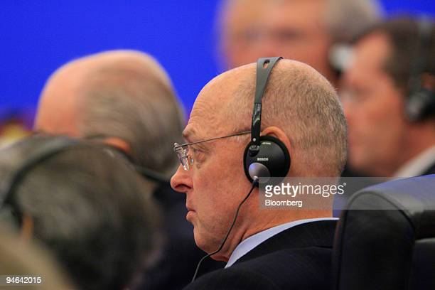 Henry Paulson US Treasury Secretary listens to opening remarks by Wu Yi unseen vicepremier of China during the opening of the Third ChinaUS Strategic...