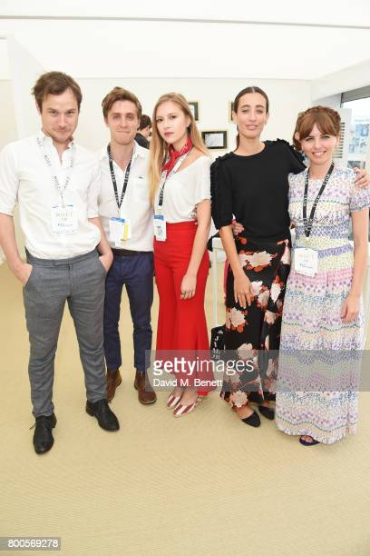 Henry Pettigrew Jack Farthing Hanako Footman Laura Jackson and Ophelia Lovibond celebrate with Moet Ice Imperial in the Moet Chandon Suite whilst...