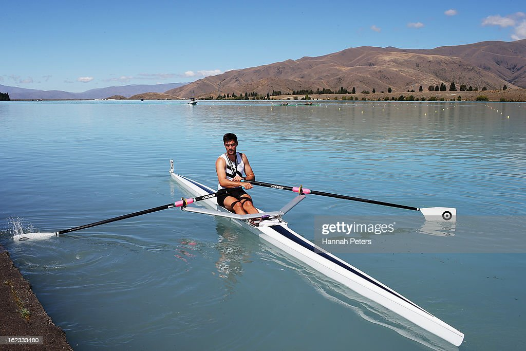 Henry Poor of West End competes in the MEn's Senior 1X final during the New Zealand Rowing Championships at Lake Ruataniwha on February 22, 2013 in Twizel, New Zealand.