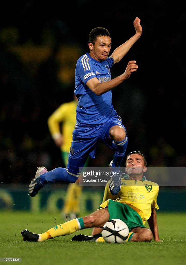 Henry Randall of Norwich City and Alex Kiwomya of Chelsea compete for the ball during the FA Youth Cup Final First Leg match between Norwich City and Chelsea at Carrow Road on April 29, 2013 in Norwich, England.