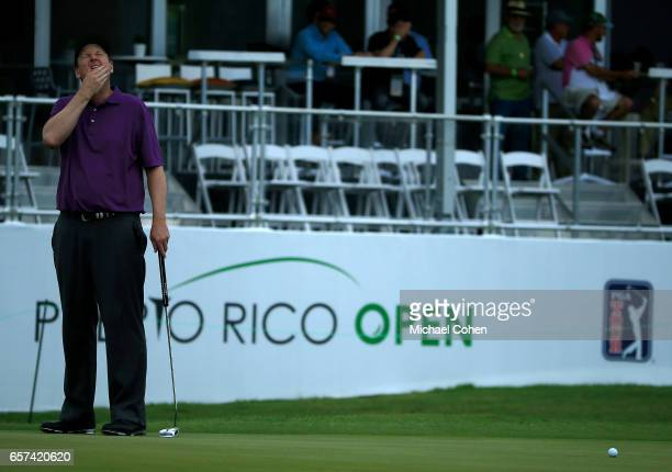 J Henry reacts after missing his birdie putt on the 18th green during the second round of the Puerto Rico Open at Coco Beach on March 24 2017 in Rio...