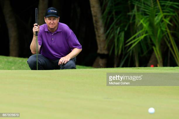 J Henry reads his birdie putt on the 11th green during the second round of the Puerto Rico Open at Coco Beach on March 24 2017 in Rio Grande Puerto...