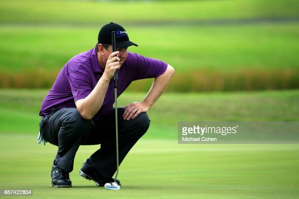 J Henry reads his putt on the ninth green during the second round of the Puerto Rico Open at Coco Beach on March 24 2017 in Rio Grande Puerto Rico