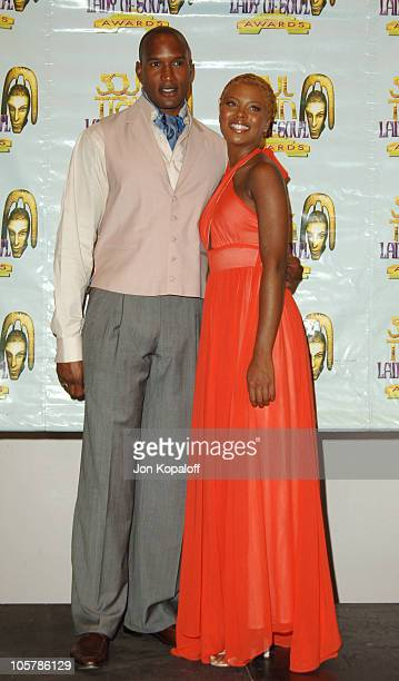 Henry Simmons and Eva Pigford during 10th Annual Soul Train Lady of Soul Awards Press Room at Pasadena Civic Auditorium in Pasadena California United...