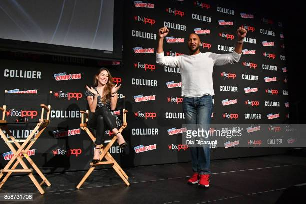 Henry Simmons and Natalia CordovaBuckley speak at the Marvel's Agents of SHIELD panel during 2017 New York Comic Con Day 3 on October 7 2017 in New...