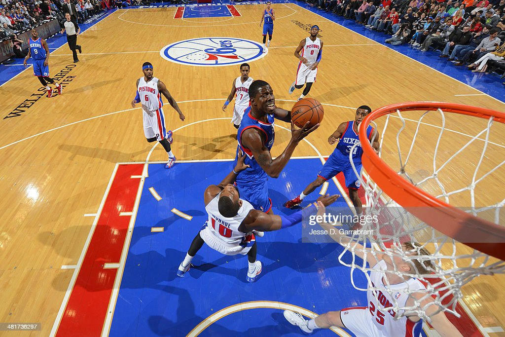 <a gi-track='captionPersonalityLinkClicked' href=/galleries/search?phrase=Henry+Sims&family=editorial&specificpeople=5132323 ng-click='$event.stopPropagation()'>Henry Sims</a> #35 of the Philadelphia 76ers drives to the basket against the Detroit Pistons at the Wells Fargo Center on March 29, 2014 in Philadelphia, Pennsylvania.