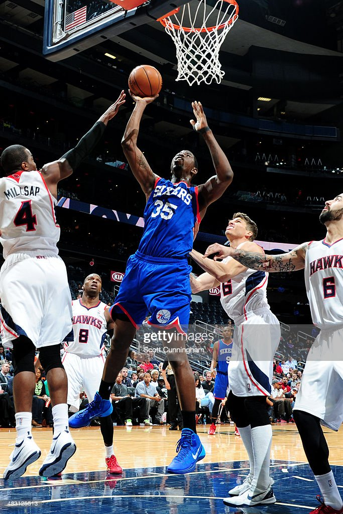 <a gi-track='captionPersonalityLinkClicked' href=/galleries/search?phrase=Henry+Sims&family=editorial&specificpeople=5132323 ng-click='$event.stopPropagation()'>Henry Sims</a> #35 of the Philadelphia 76ers shoots against the Atlanta Hawks on March 31, 2014 at Philips Arena in Atlanta, Georgia.