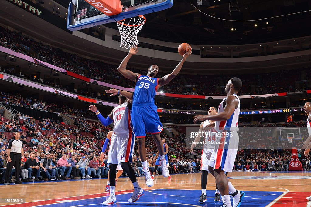<a gi-track='captionPersonalityLinkClicked' href=/galleries/search?phrase=Henry+Sims&family=editorial&specificpeople=5132323 ng-click='$event.stopPropagation()'>Henry Sims</a> #35 of the Philadelphia 76ers takes a shot against the Detroit Pistons at the Wells Fargo Center on March 29, 2014 in Philadelphia, Pennsylvania.
