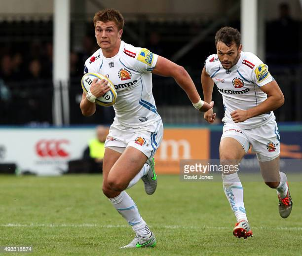 Henry Slade and Phil Dollman of Exeter Chiefs during the Aviva Premiership match between Bath Rugby and Exeter Chiefs at the Recreation Ground on...