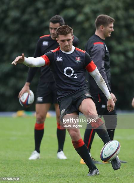 Henry Slade kicks the ball upfield during the England training session held at Pennyhill Park on November 21 2017 in Bagshot England