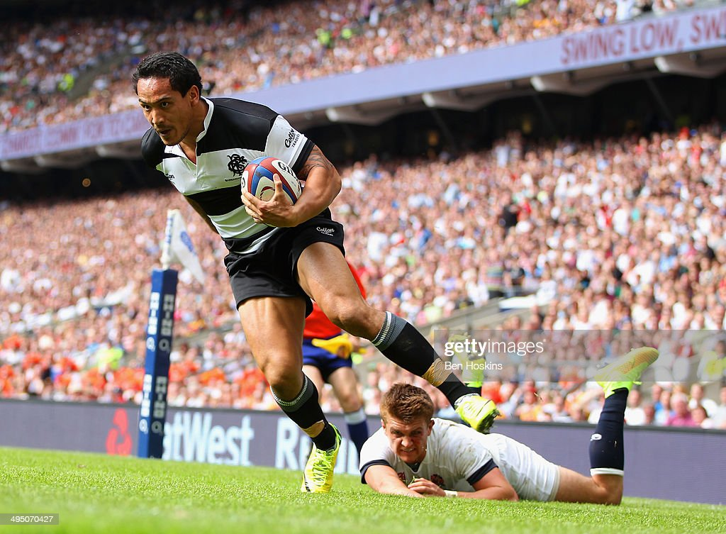 Henry Slade of England fails to stop Hosea Gear of the Barbarians scoring his first try during the Rugby Union International Match between England and The Barbarians at Twickenham Stadium on June 1, 2014 in London, England