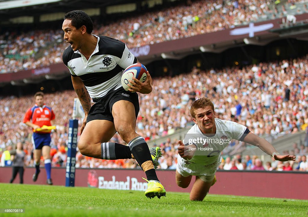 Henry Slade of England fails to stop Hosea Gear of the Barbarians scoring his second try during the Rugby Union International Match between England and The Barbarians at Twickenham Stadium on June 1, 2014 in London, England