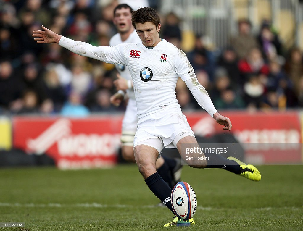 Henry Slade of England kicks a penalty during the U20s RBS Six Nations match between England U20 and France U20 at the Sixways Stadium on February 23, 2013 in Worcester, England.