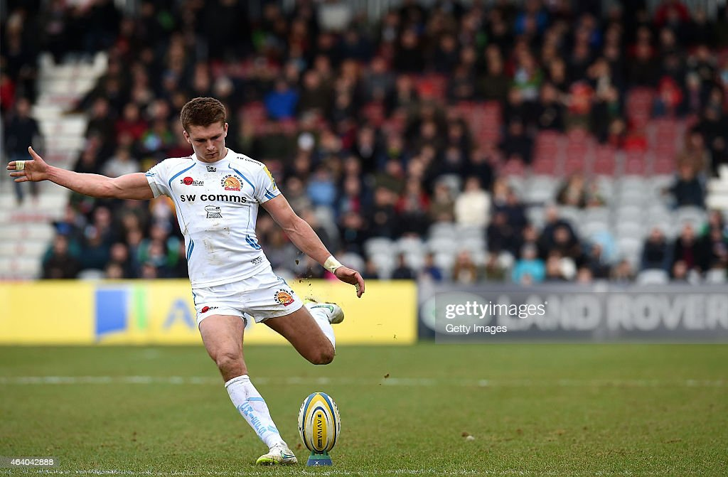 <a gi-track='captionPersonalityLinkClicked' href=/galleries/search?phrase=Henry+Slade+-+Rugby+Player&family=editorial&specificpeople=13834974 ng-click='$event.stopPropagation()'>Henry Slade</a> of Exeter Chiefs kicks a penalty during the Aviva Premiership match between Harlequins and Exeter Chiefs at the Twickenham Stoop on February 21, 2015 in London, England.