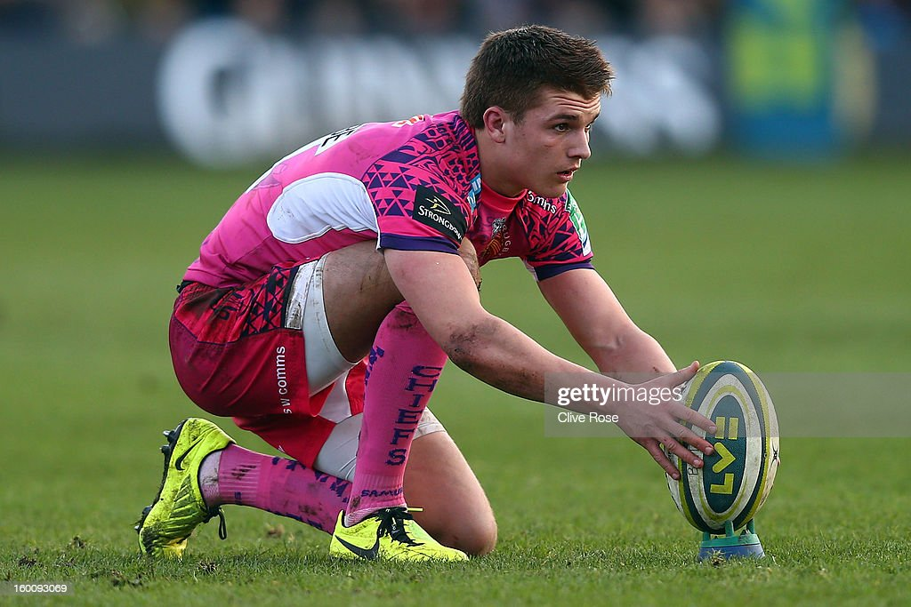 Henry Slade of Exeter Chiefs prepares to kick a penalty during the LV= Cup match between Bath and Exeter Chiefs at the Recreation Ground on January 26, 2013 in Bath, England.