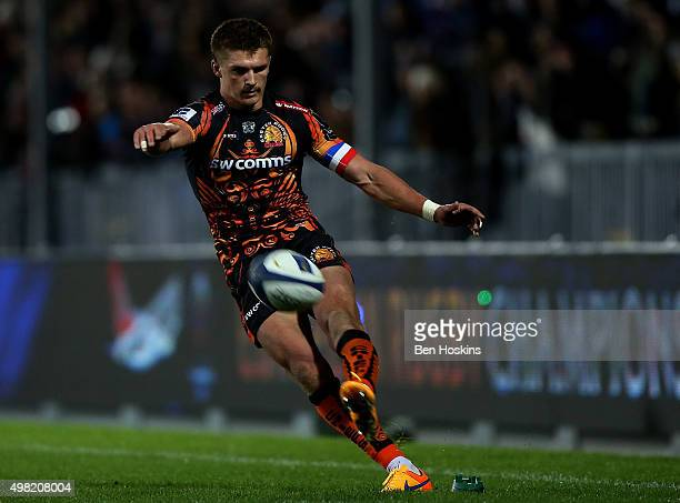 Henry Slade of Exeter kicks a conversion during the European Rugby Champions Cup match between Exeter Chiefs and BordeauxBegles at Sandy Park on...