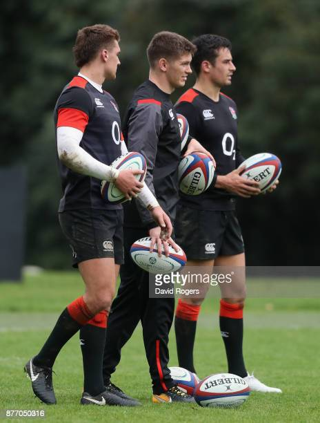 Henry Slade Owen Farrell and Alex Lozowski look on during the England training session held at Pennyhill Park on November 21 2017 in Bagshot England
