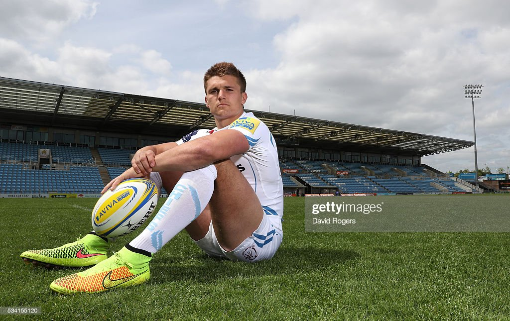 <a gi-track='captionPersonalityLinkClicked' href=/galleries/search?phrase=Henry+Slade+-+Giocatore+di+rugby&family=editorial&specificpeople=13834974 ng-click='$event.stopPropagation()'>Henry Slade</a> poses during the Exeter Chiefs media session held at Sandy Park on May 25, 2016 in Exeter, England.